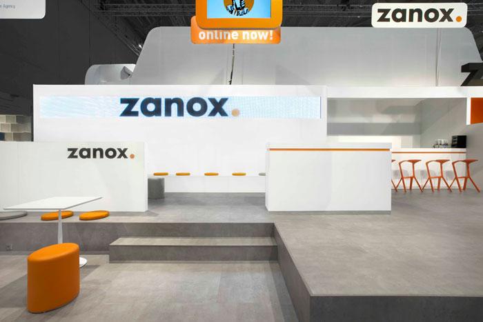 ZANOX, Messebau, Markeninszenierung, Innenarchitektur, Markenarchitektur, MEA Studio, Architektur